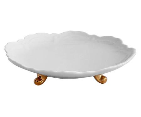 Prato para Bolo em Porcelana Rococó - Branco e Dourado   WestwingNow