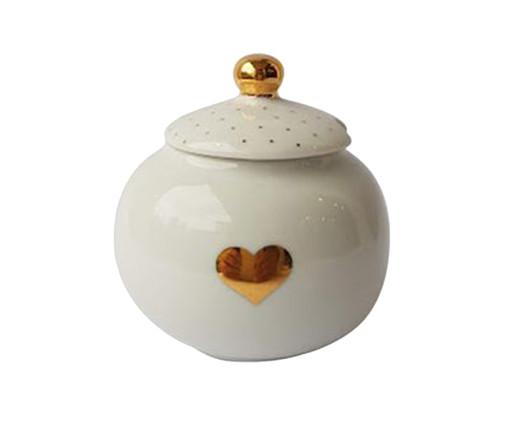 Açucareiro de Porcelana Zuri Coração - Branco e Dourado, Branco   WestwingNow