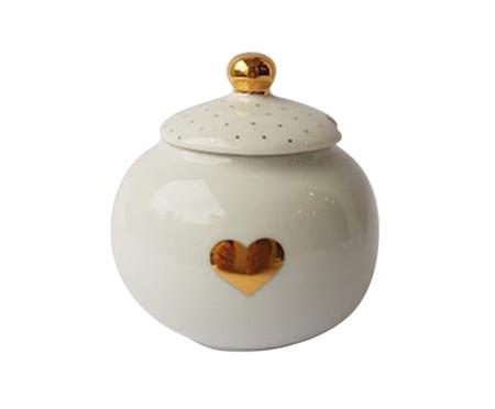 Açucareiro de Porcelana Zuri Coração - Branco e Dourado | WestwingNow