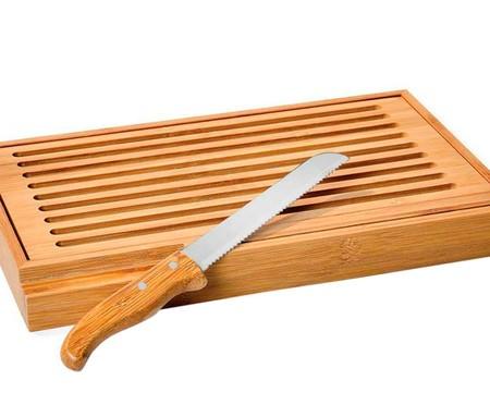 Jogo de Migalheira em Bambu com Faca para Pão Ardengo - Natural   WestwingNow