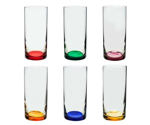 Jogo de Copos para Água em Vidro Olmo - Colorido, Transparente,multicolorido | WestwingNow