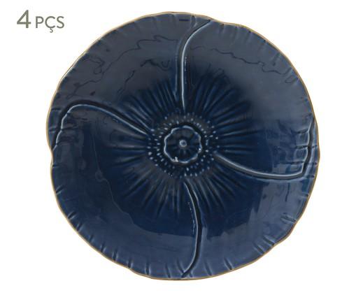 Jogo de Pratos para Sobremesa Pétala Atlântico - 04 Pessoas, Azul escuro | WestwingNow