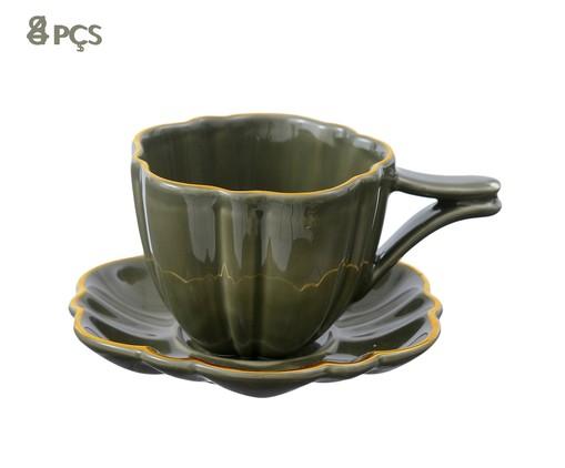 Jogo de Xícaras para Chá com Pires Pétala Jade - 04 Pessoas, Verde escuro | WestwingNow