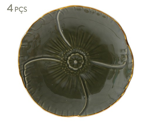 Jogo de Pratos para Sobremesa Pétala Jade - 04 Pessoas, Verde escuro | WestwingNow