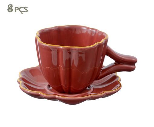 Jogo de Xícaras para Chá com Pires Pétala Terracota - 04 Pessoas, Marsala Queimado | WestwingNow