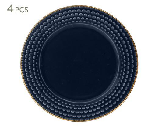 Jogo de Pratos para Sobremesa Escama Atlântico - 04 Pessoas, Azul escuro | WestwingNow