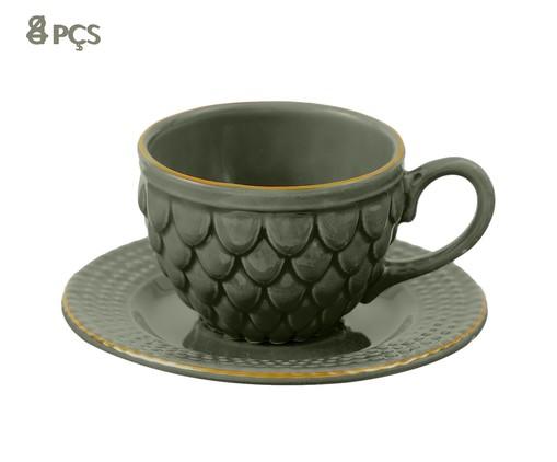 Jogo de Xícaras para Chá com Pires Escama Jade - 04 Pessoas, Verde escuro | WestwingNow