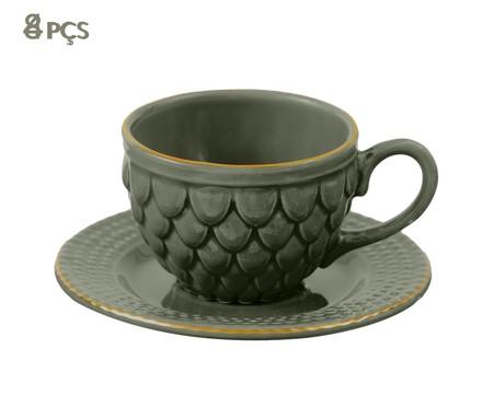 Jogo de Xícaras para Chá com Pires Escama Jade - 04 Pessoas | WestwingNow