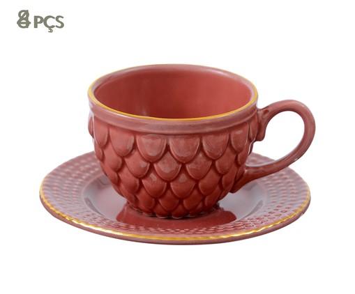 Jogo de Xícaras para Chá com Pires Escama Terracota - 04 Pessoas, Marsala Queimado | WestwingNow