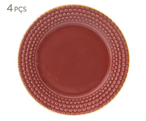 Jogo de Pratos para Sobremesa Escama Terracota - 04 Pessoas, Marsala Queimado | WestwingNow