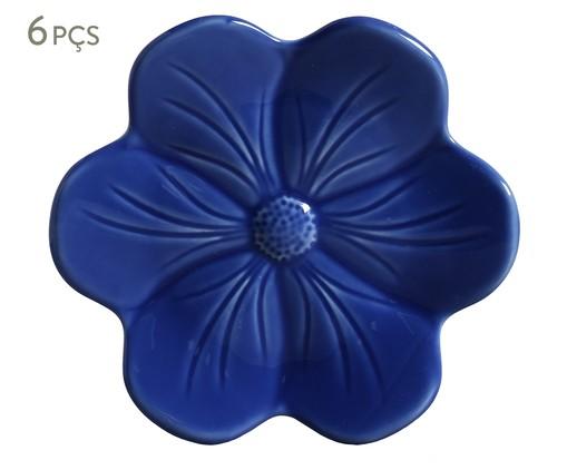 Jogo de Pratos para Sobremesa em Cerâmica Lola 6 Pessoas - Azul, Azul | WestwingNow