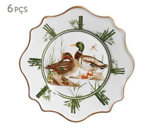 Jogo de Pratos para Sobremesa em Cerâmica Rita 6 Pessoas - Estampado, Colorido   WestwingNow