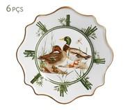 Jogo de Pratos para Sobremesa em Cerâmica Rita 6 Pessoas - Estampado | WestwingNow
