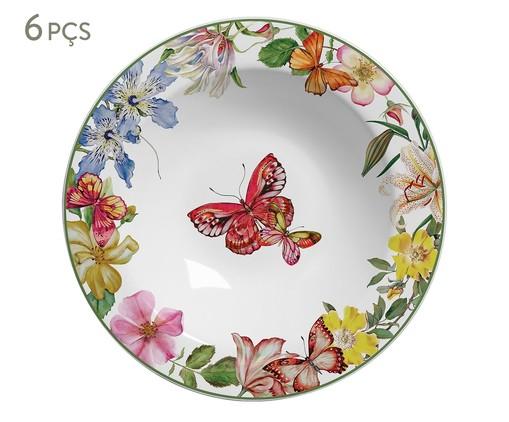 Jogo de Pratos Fundos em Cerâmica Papillon - Colorido, Vermelho   WestwingNow