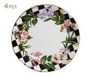 Jogo de Pratos Rasos em Cerâmica Floral Chess - 04 Pessoas | WestwingNow