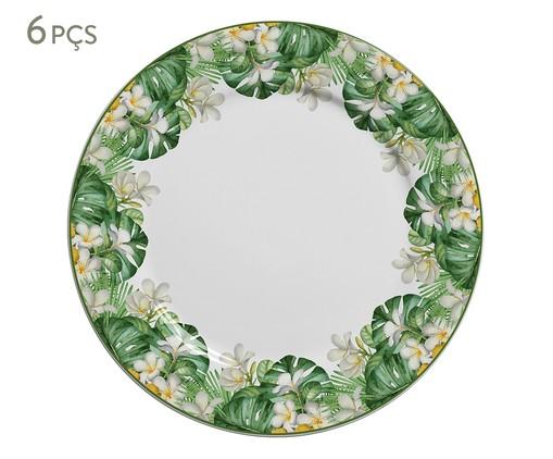 Jogo de Pratos Rasos em Cerâmica Macaw - Colorido, Verde | WestwingNow