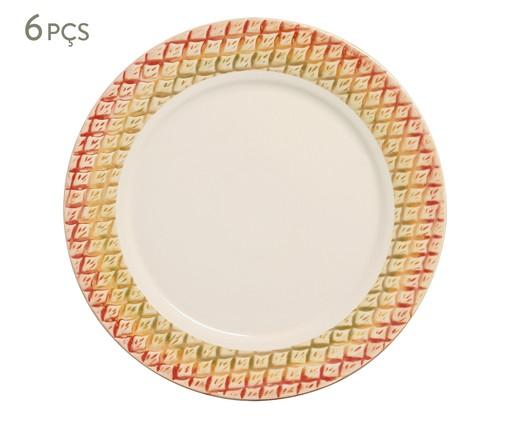 Jogo de Pratos Rasos em Cerâmica Bia - 06 Pessoas, Amarelo | WestwingNow