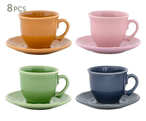 Jogo de Xícaras para Chá com Pires Bambu Colors - 04 Pessoas, Colorido | WestwingNow