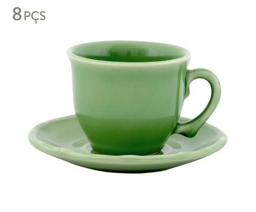Jogo de Xícaras para Chá com Pires Bambu Verde Nilo - 04 Pessoas, Verde | WestwingNow