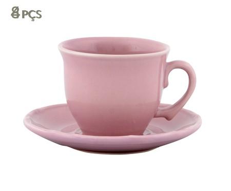 Jogo de Xícaras para Chá com Pires Bambu Rosa - 04 Pessoas | WestwingNow