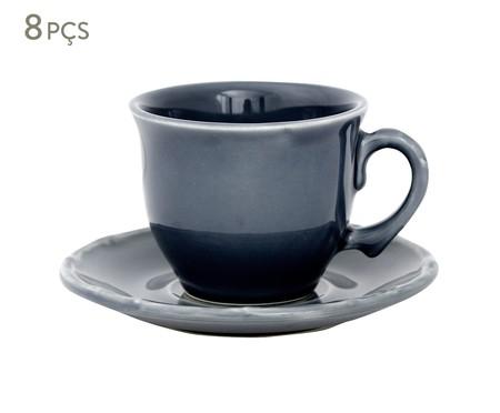 Jogo de Xícaras para Chá com Pires Bambu Azul - 04 Pessoas | WestwingNow