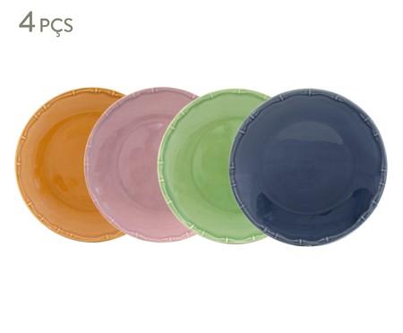 Jogo de Pratos Rasos Bambu Colors - 04 Pessoas | WestwingNow