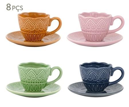 Jogo de Xícaras para Chá com Pires Mandala Turca Colors - 04 Pessoas   WestwingNow