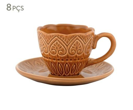 Jogo de Xícaras para Chá com Pires Mandala Turca Ocre - 04 Pessoas, Ocre | WestwingNow