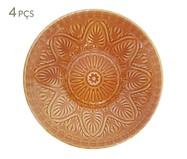 Jogo de Pratos Fundos Mandala Turca Ocre - 04 Pessoas | WestwingNow
