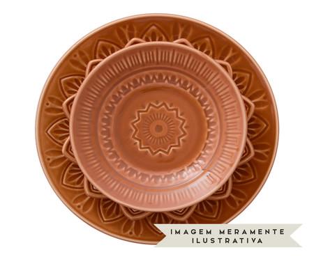 Jogo de Pratos para Sobremesa Mandala Turca Ocre - 04 Pessoas | WestwingNow