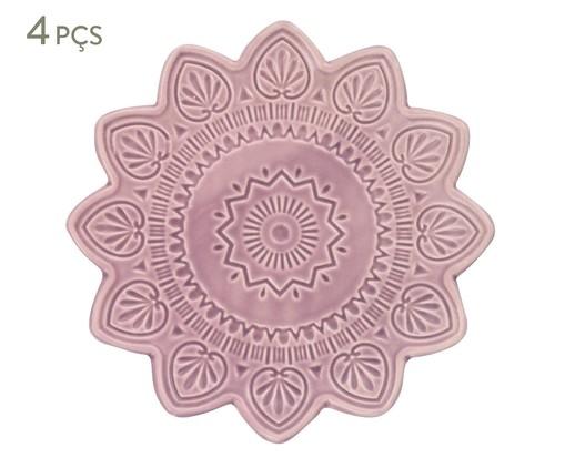 Jogo de Pratos para Sobremesa Mandala Turca Rosa - 04 Pessoas, Rosa   WestwingNow