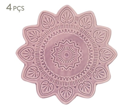 Jogo de Pratos para Sobremesa Mandala Turca Rosa - 04 Pessoas | WestwingNow