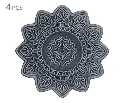 Jogo de Pratos para Sobremesa Mandala Turca Azul - 04 Pessoas, Azul | WestwingNow