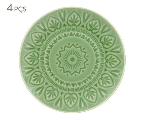 Jogo de Pratos Rasos Mandala Turca Verde Nilo - 04 Pessoas, Verde | WestwingNow
