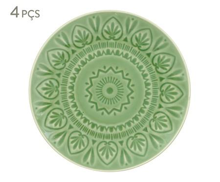 Jogo de Pratos Rasos Mandala Turca Verde Nilo - 04 Pessoas | WestwingNow