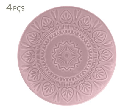 Jogo de Pratos Rasos Mandala Turca Rosa - 04 Pessoas | WestwingNow
