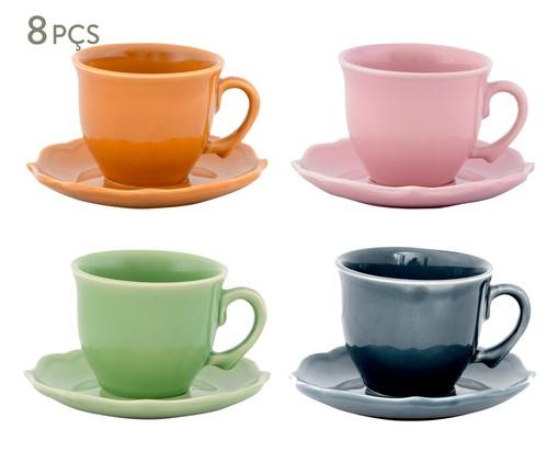Jogo de Xícaras para Chá com Pires Portal Colors - 04 Pessoas, Colorido | WestwingNow