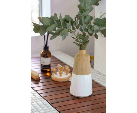 Vaso de Cerâmica Zelfa - Branco e Bege | WestwingNow