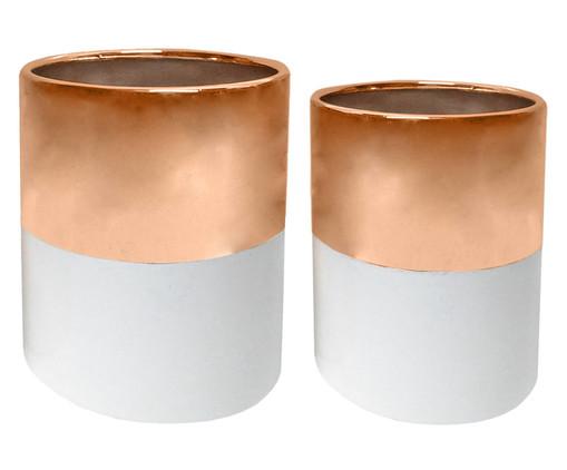 Jogo de Vasos Cerâmica Mira - Rosé e Branco, Branco, Rosé | WestwingNow