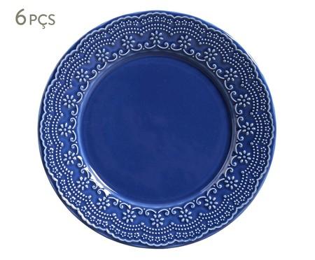 Jogo de Pratos Rasos em Cerâmica Madeleine 06 Pessoas - Azul Navy | WestwingNow