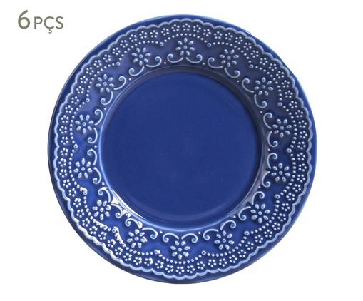 Jogo de Pratos para Sobremesa em Cerâmica Madeleine 06 Pessoas - Azul, Azul | WestwingNow