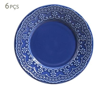 Jogo de Pratos para Sobremesa em Cerâmica Madeleine Azul - 06 Pessoas | WestwingNow