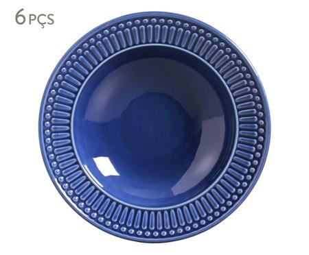 Jogo de Pratos Fundos em Cerâmica Roma 06 Pessoas - Azul Navy | WestwingNow