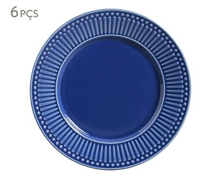 Jogo de Pratos Rasos de Cerâmica Roma 6 Pessoas - Azul Navy | WestwingNow