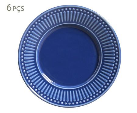Jogo de Pratos para Sobremesa Roma Azul Navy - 06 Pessoas | WestwingNow