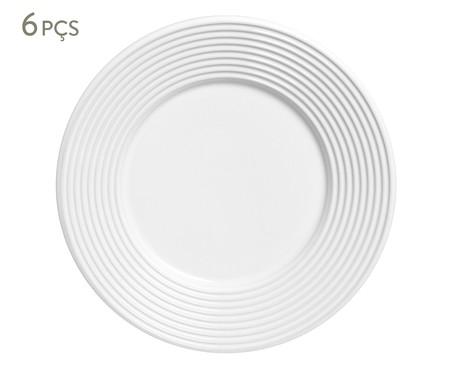 Jogo de Pratos para Sobremesa em Cerâmica Argos Branco - 06 Pessoas | WestwingNow