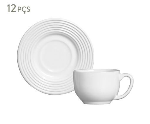 Jogo de Xícaras para Chá e Pires em Cerâmica Argos - Branco, Branco | WestwingNow