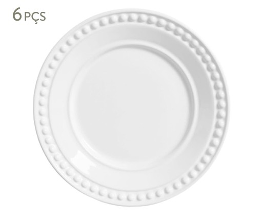 Jogo de Pratos para Sobremesa em Cerâmica Atenas 06 Pessoas - Branco, Branco | WestwingNow