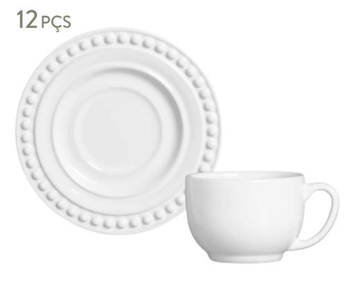 Jogo de Xícaras para Chá em Cerâmica Atenas 06 Pessoas - Branco, Branco | WestwingNow