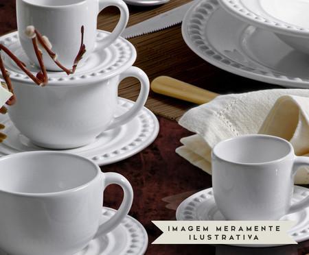 Jogo de Xícaras e Pires para Café em Cerâmica Atenas - Branco | WestwingNow